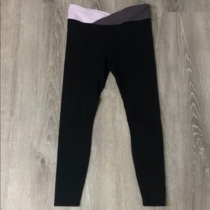 black leggings with pink and purple waist band